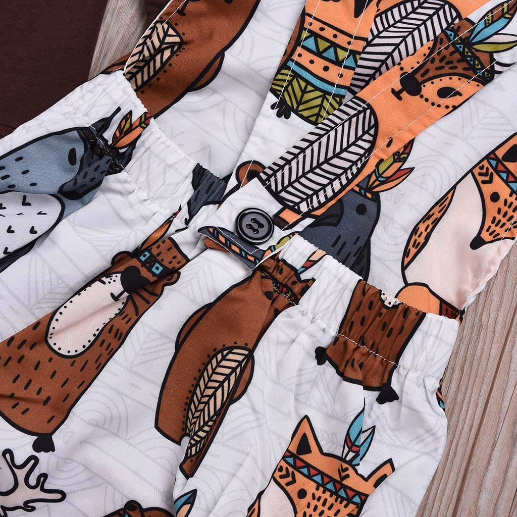 SUNBIBE Infant Baby Girls Boys Solid Long Sleeve T-Shirt Tops Cartoon Print Suspenders Romper Newborn Outfits Set