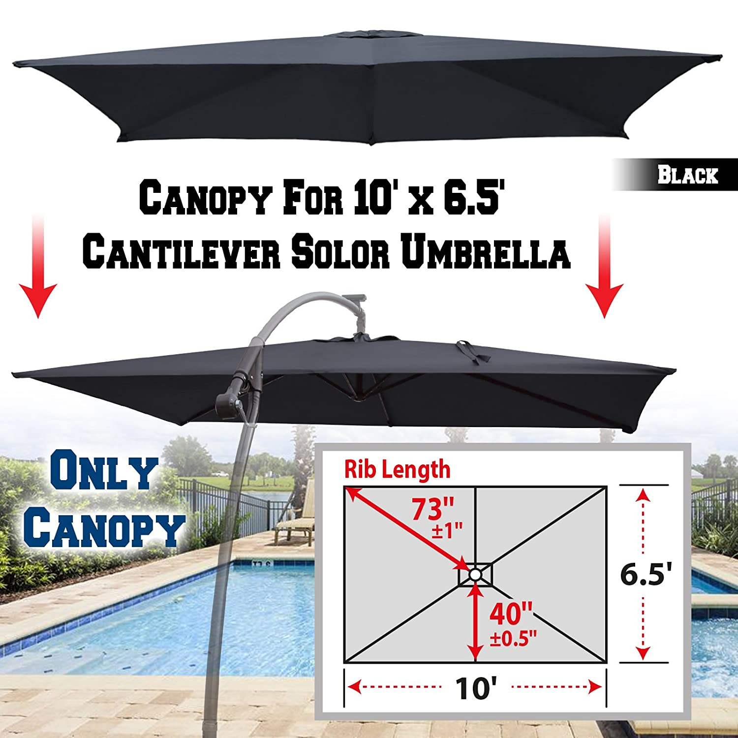 BenefitUSA Replacement Canopy Cover for 10 X 6.5 Cantilever Patio Umbrella Offest Parasol Top Replacement Beige