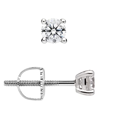 3a8a54751 14K Solid White Gold Stud Earrings | Round Cut Cubic Zirconia | Screw Back  Posts