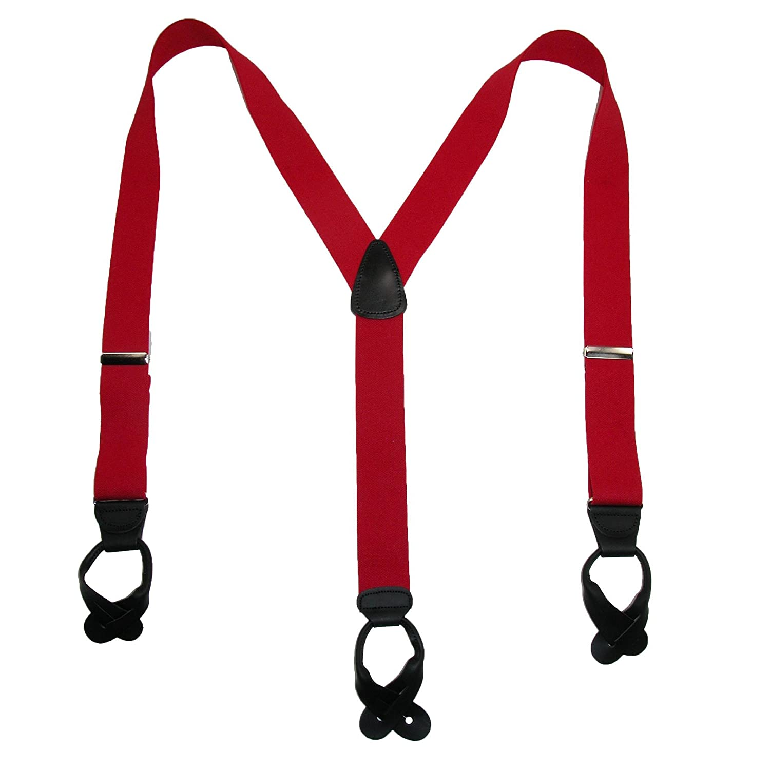 CTM/® Mens Big /& Tall Elastic Button End Suspender with Bachelor Buttons Black
