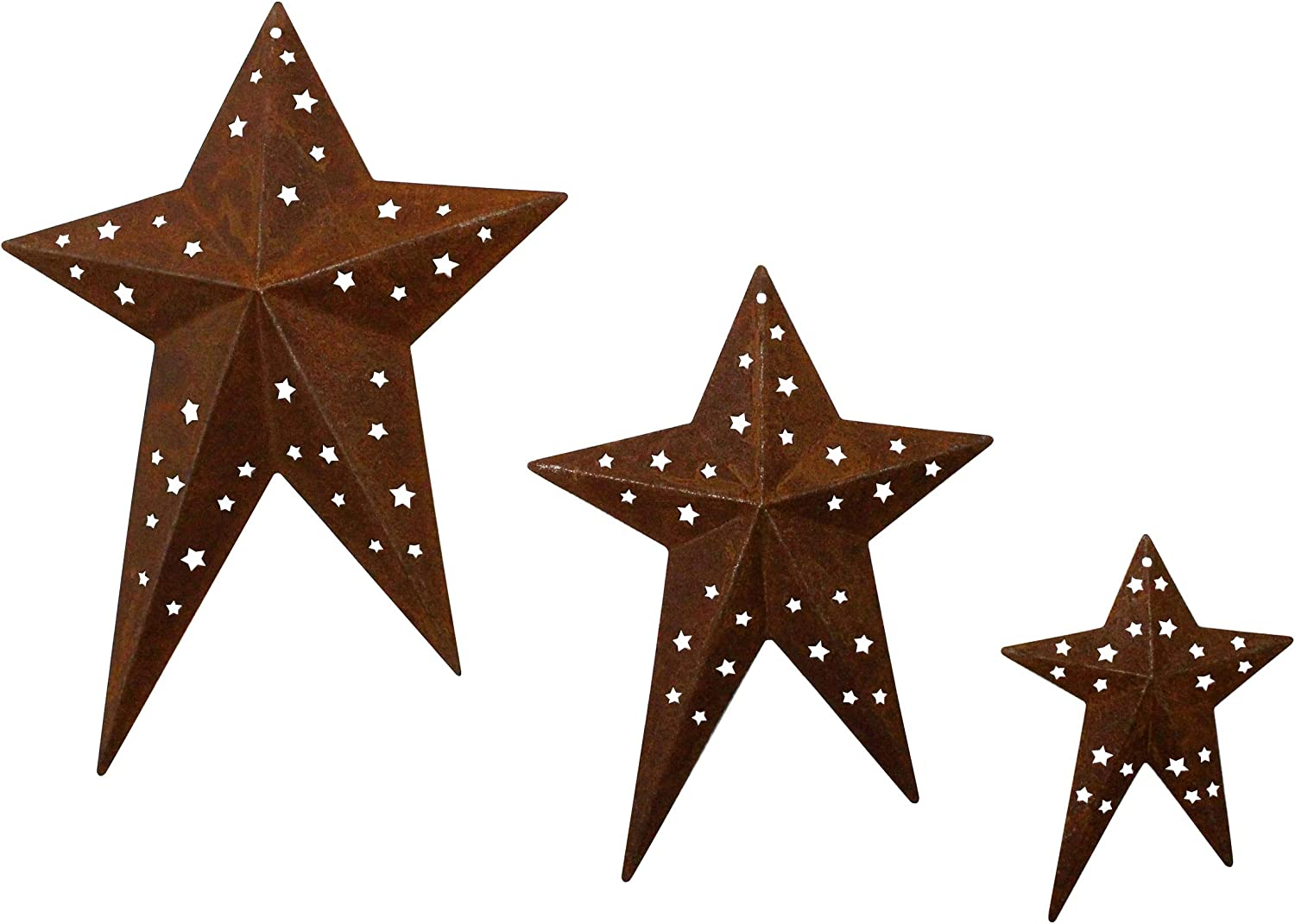 CVHOMEDECO. Primitives Rustic Vintage Gifts Rusty Punched Metal Barn Stars for Wall/Wreaths/Twigs Decor, 8/6/4 Inch, Set of 3