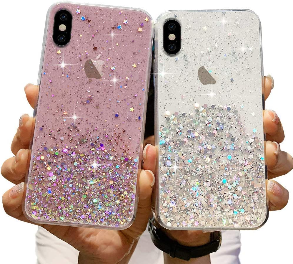 LCHULLE 2 Pack Girls Case for iPhone 6 iPhone 6S Glitter Case Shiny Sparkle Bling Bling Case for Girls Women Clear Soft TPU Bumper Silicone Protective Cover for iPhone 6/6S, Pink & Clear