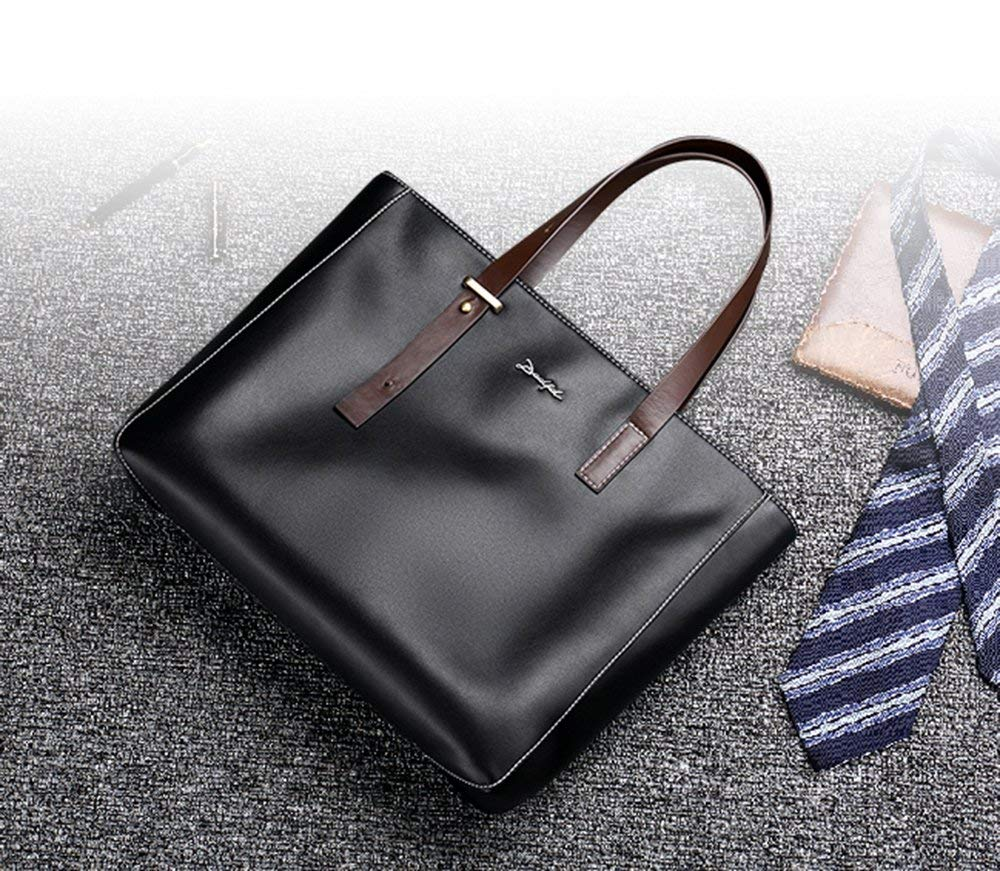 Gelaiken Laptops Bags Men's Bag Briefcase Cross Section Business Men's Handbag Casual Korean Version of The Simple Men's Soft Leather Hand Bag Padded Computer Bag Large Briefcase for Work by Gelaiken (Image #9)