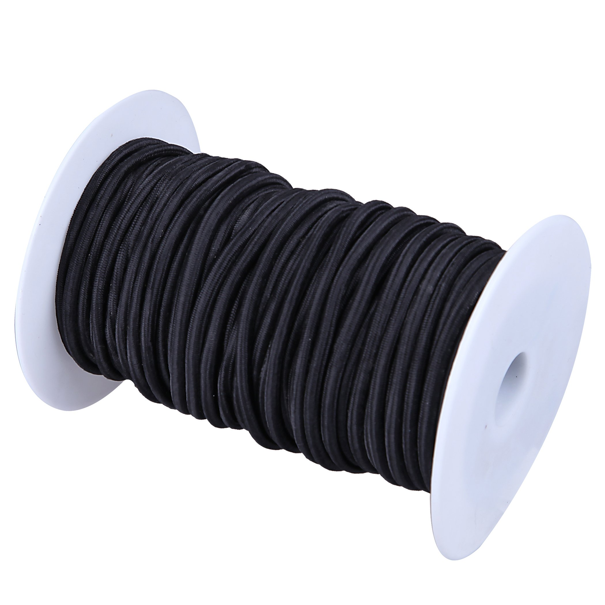 Cartman 1/8'' Elastic Cord Crafting Stretch String with Various Colors, 10kg x 100ft, Black Color by CARTMAN