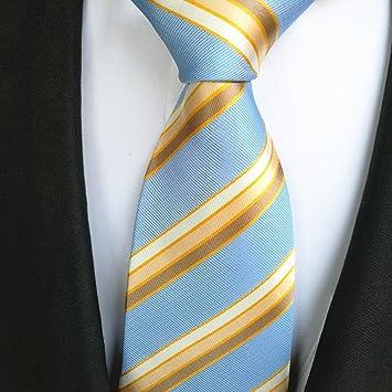 FYios - Corbata de Hombre con diseño de Rayas, Color Azul Claro y ...