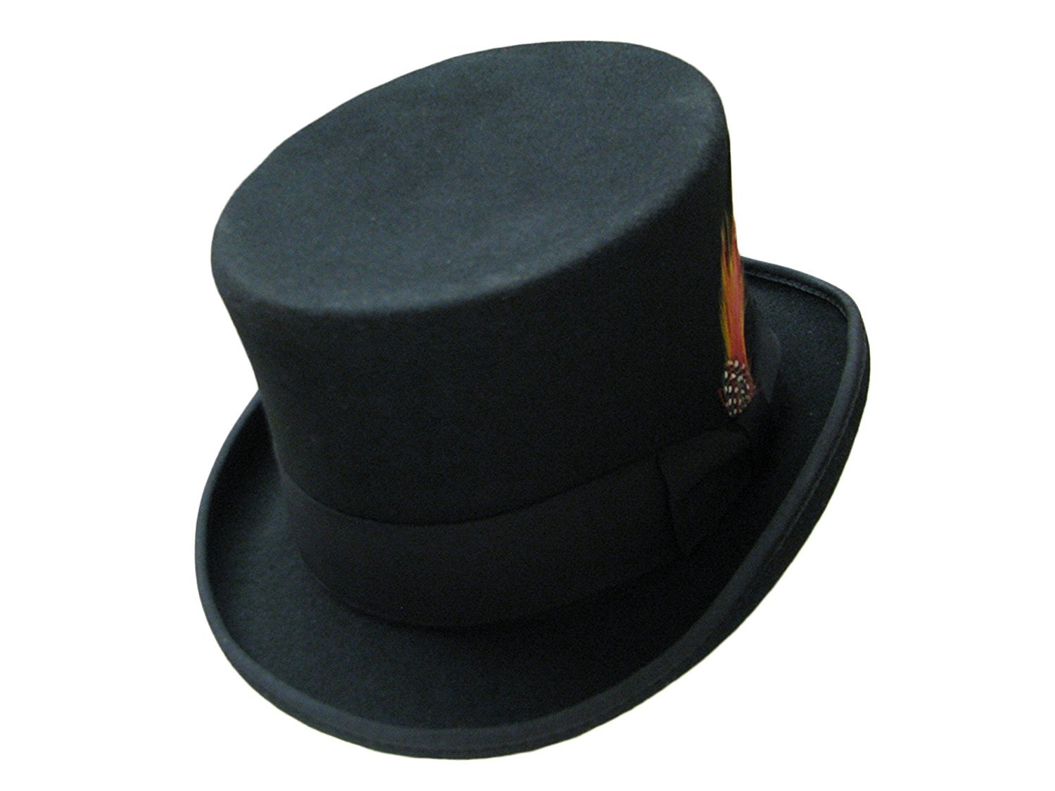 58389412106 Black 100% Wool Felt Hand Made TOP HAT with Satin Lining Bow Band and  Feather
