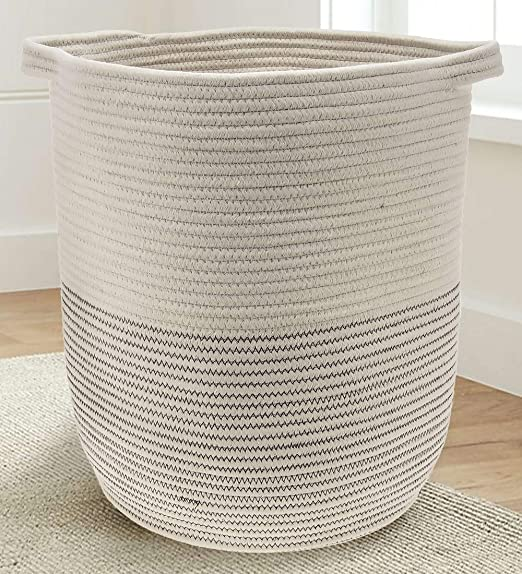 """Blue//Grey//Off-White Organizer for Blankets Large 16/"""" x 11/"""" x 10 Decorative Laundry Hamper Towels Toys Cotton Rope Basket for Storage and Organization in Baby Nursery or Kids Room Books"""