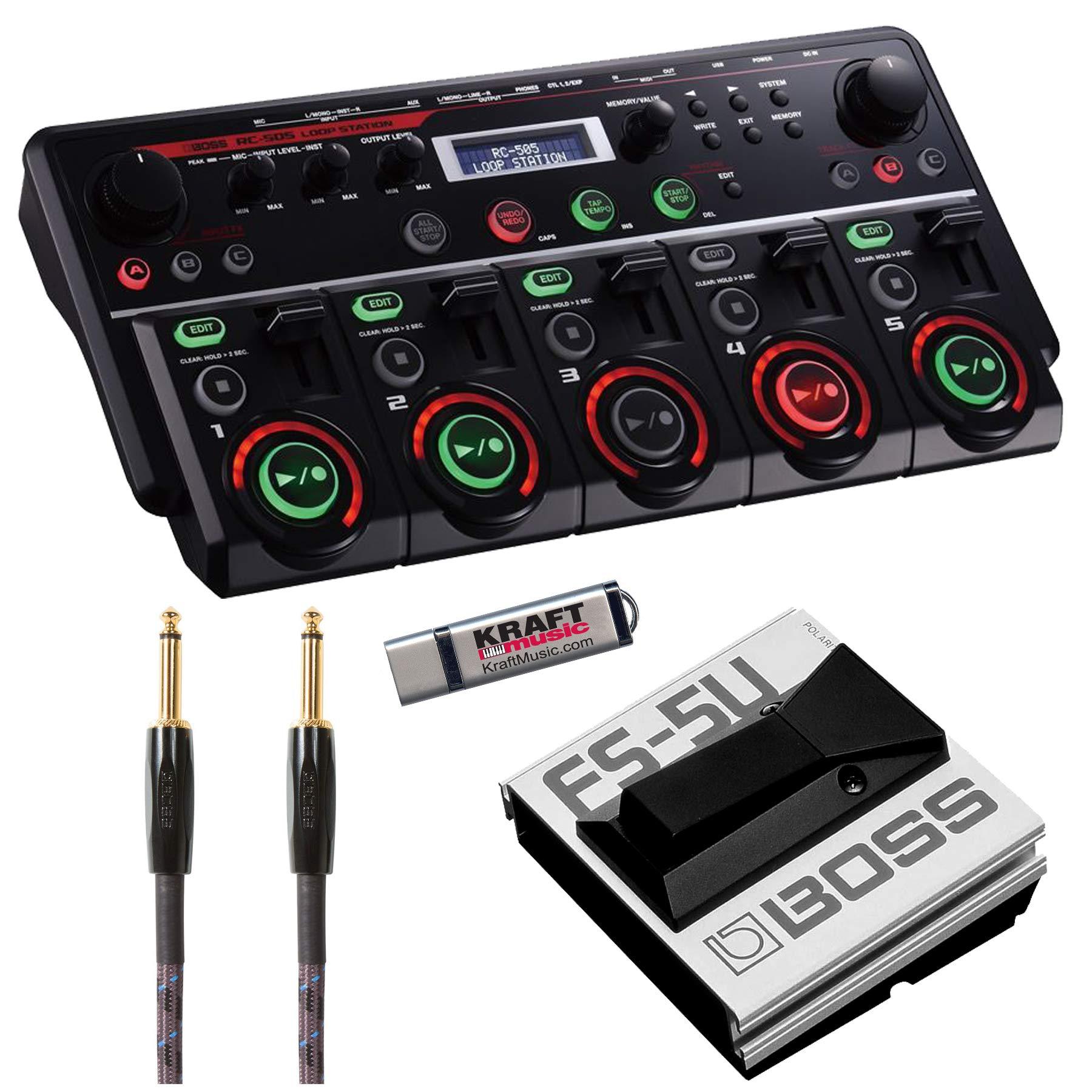 BOSS RC505 Loopstation with FS5U Footswitch, Cable, and Flash drive by BOSS