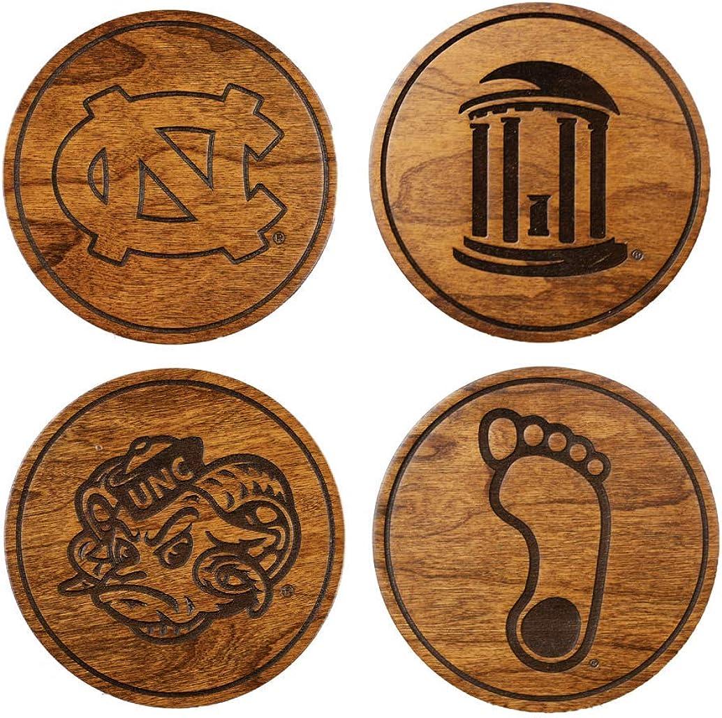 LazerEdge NCAA Wooden Coasters (Set of 4) (UNC Chapel Hill Tar Heels)