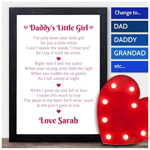 Daddys Little Girl Personalised Poem Fathers Day Gifts From