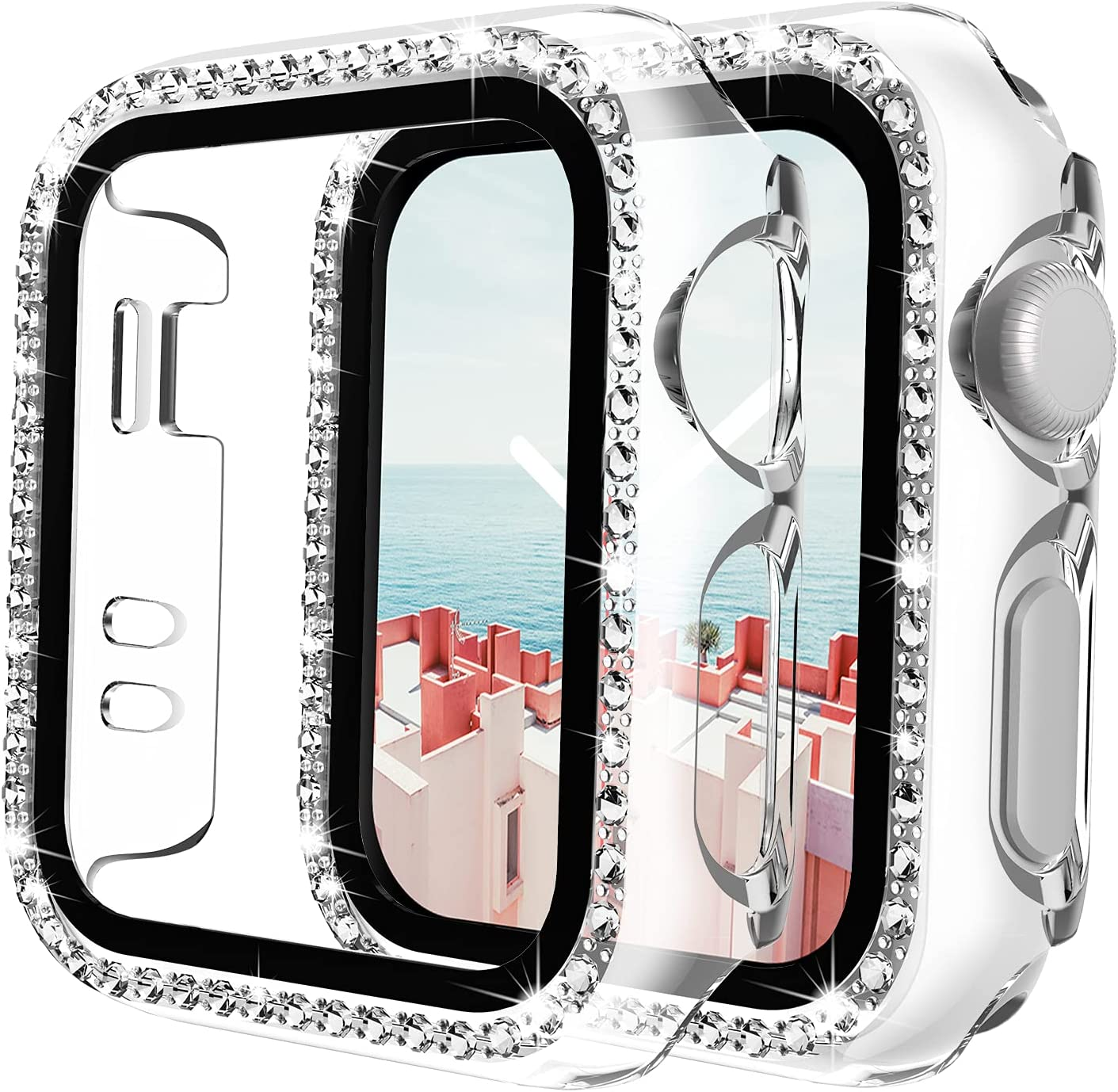 TAURI 2 Pack Case Built in Screen Protector Compatible with Apple Watch 42mm Series 3/2/1 Tempered Glass Screen Protector Cover, Bling Crystal Diamond Full Protection Cover for iWatch - Clear Bling