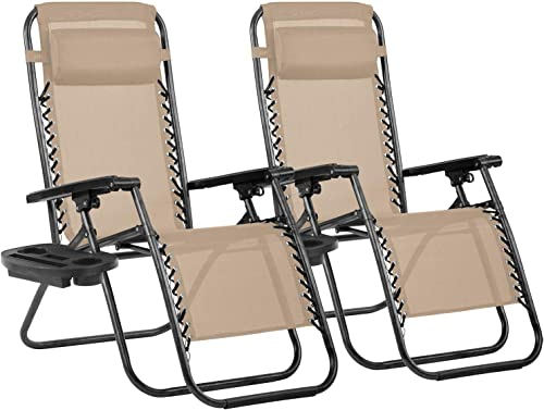Set of 2 Adjustable Zero Gravity Lounge Chair Recliner
