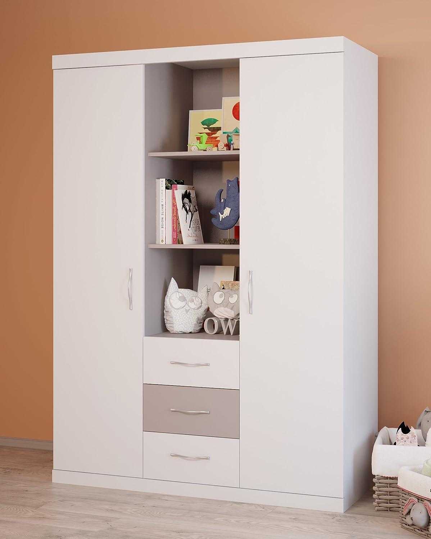 Polini Classic Dreiteiliger Kleiderschrank, weiß-macchiato