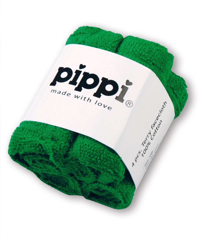 Pippi 4er Set Frottee-Waschlappen Wascht/ücher in gr/ün 27x27cm
