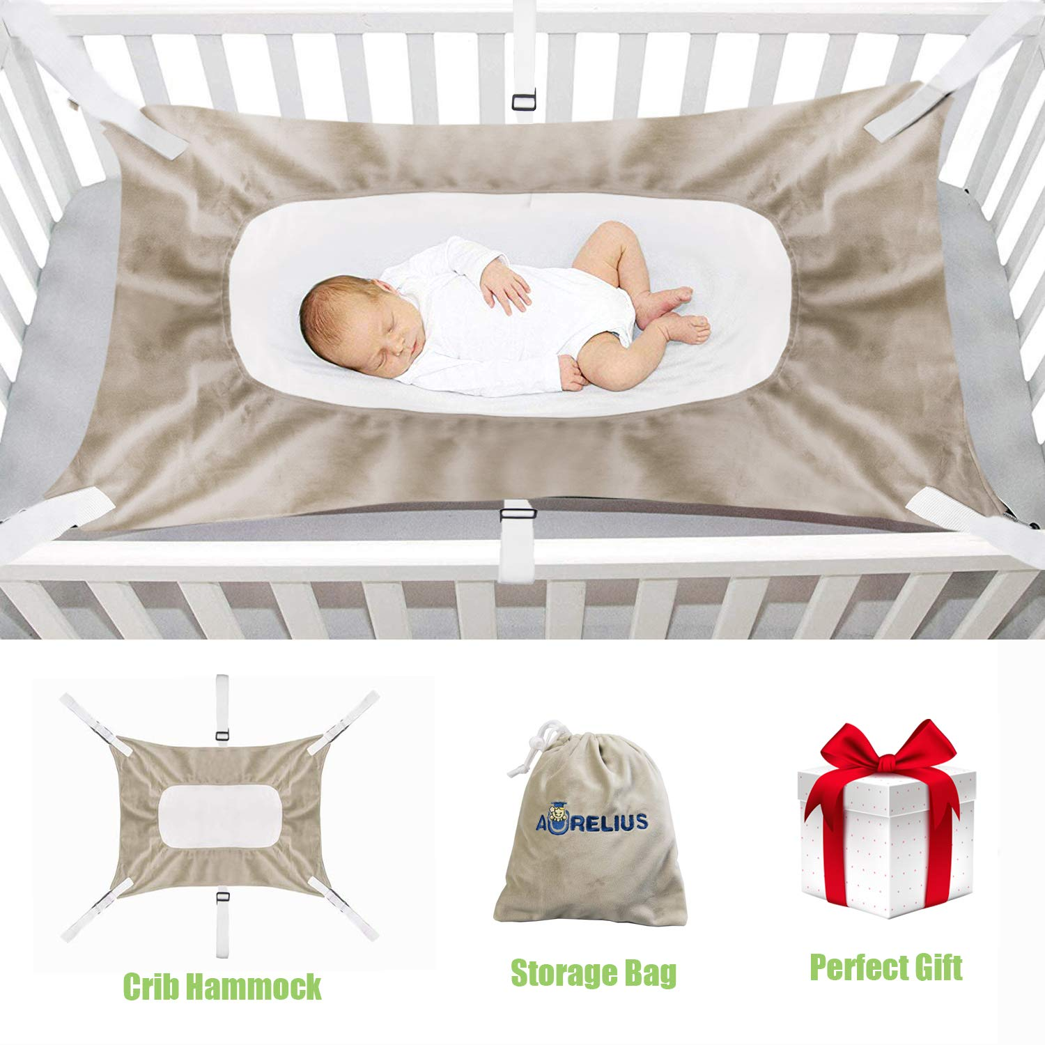 Aurelius Baby Hammock for Crib,Mimics Womb,Bassinet Hammock Bed,Comfortable Three-Layer Breathable Net,Newborn Infant Nursery Travel Bed with Portable Gift Bag for Newborn Baby Shower Gift (Light Brown)