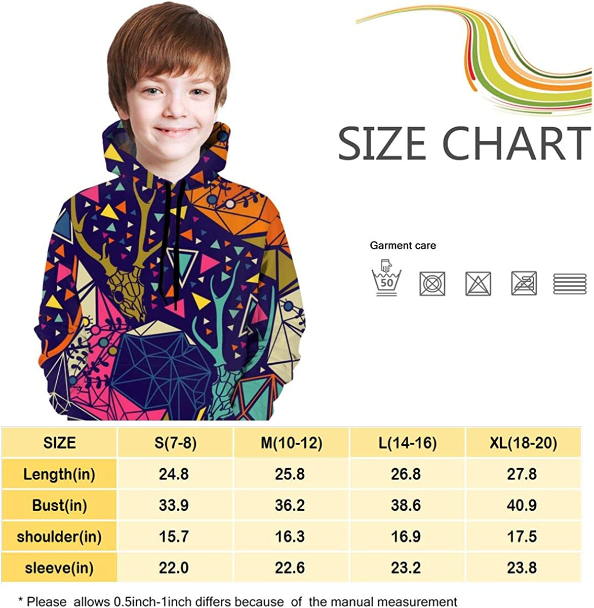 Kids Hoodie Skull with Floral and Polygonal Ornament Soft Hooded Sweatshirt Loose Pull Over Hoodie