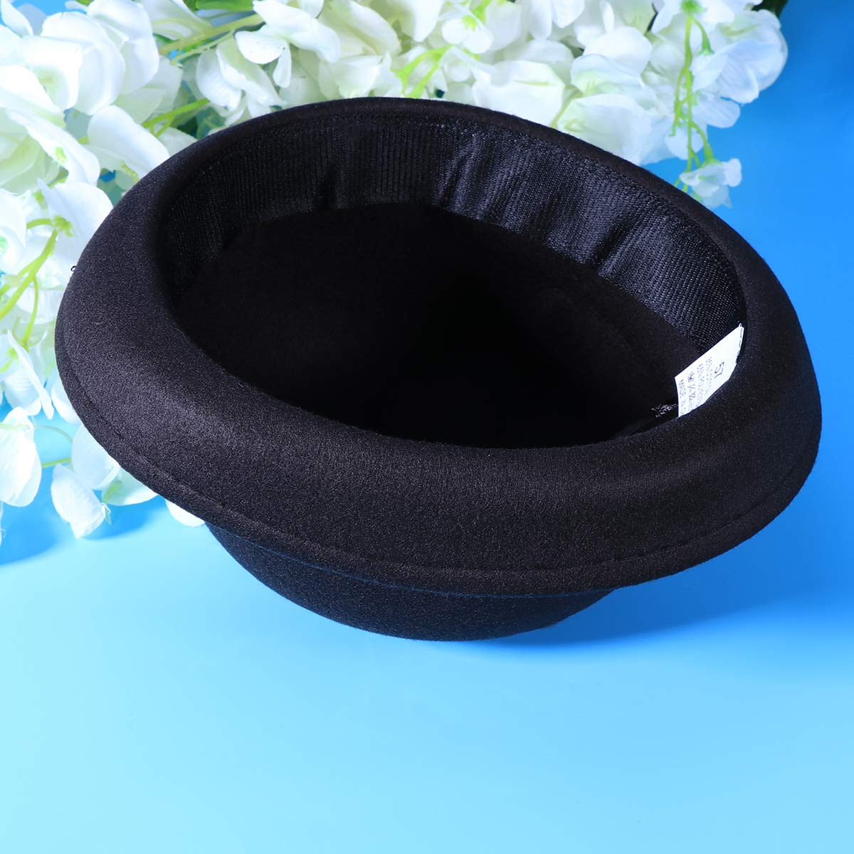 Black Bowler Hat Wool Derby Hat Roll-up Brim Fedora Hat for Women