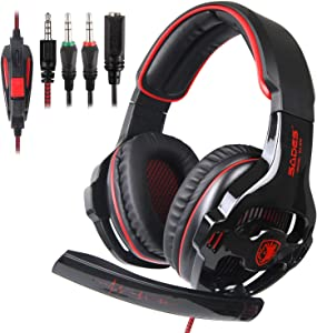 Sades Newly SA810 Over Ear Stereo Bass Gaming Headset Headphones with Noise Isolation Microphone for New Xbox One PC PS4 Laptop Phone Nintendo Switch(Red)