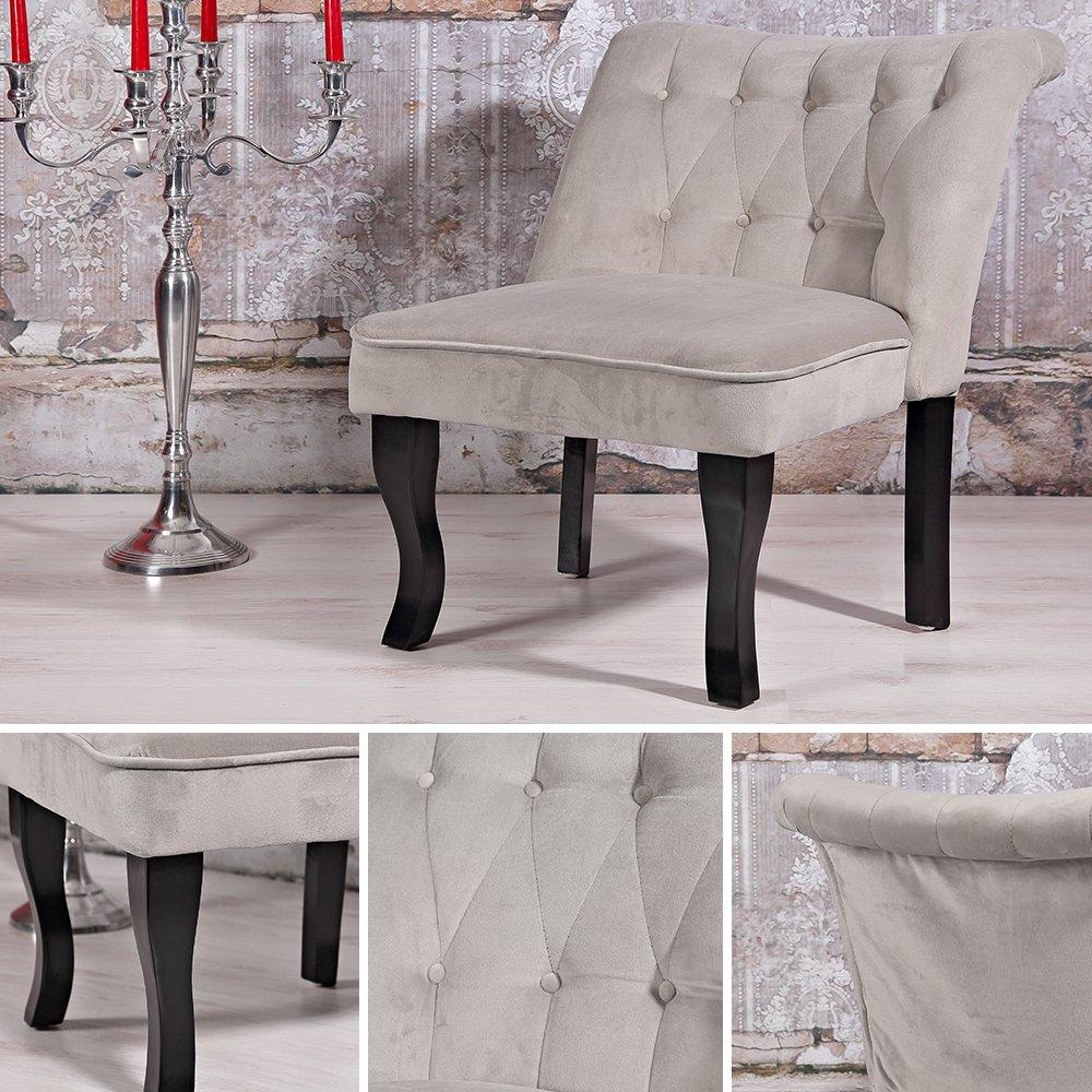 Melko Sessel Design Esszimer grau + Nackenrolle Barock Lehnstuhl Wohnzimmer Stuhl silb