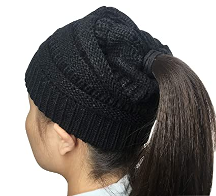2bb08cd70583b Womens Ponytail Messy Bun Beanie Solid Ribbed Hat Cap for Winter Autumn  (Black)  Amazon.co.uk  Clothing