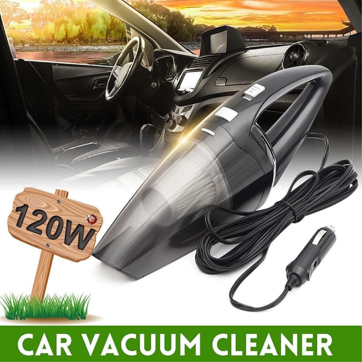 120 W Aspirador de coche portátil Mojado y seco de doble uso Auto encendedor de cigarrillos Mini aspirador de mano Super succión 12V Aspirador de coche (Color : Black): Amazon.es: Coche y