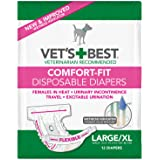 Vet's Best Comfort Fit Disposable Female Diapers, 12 Count
