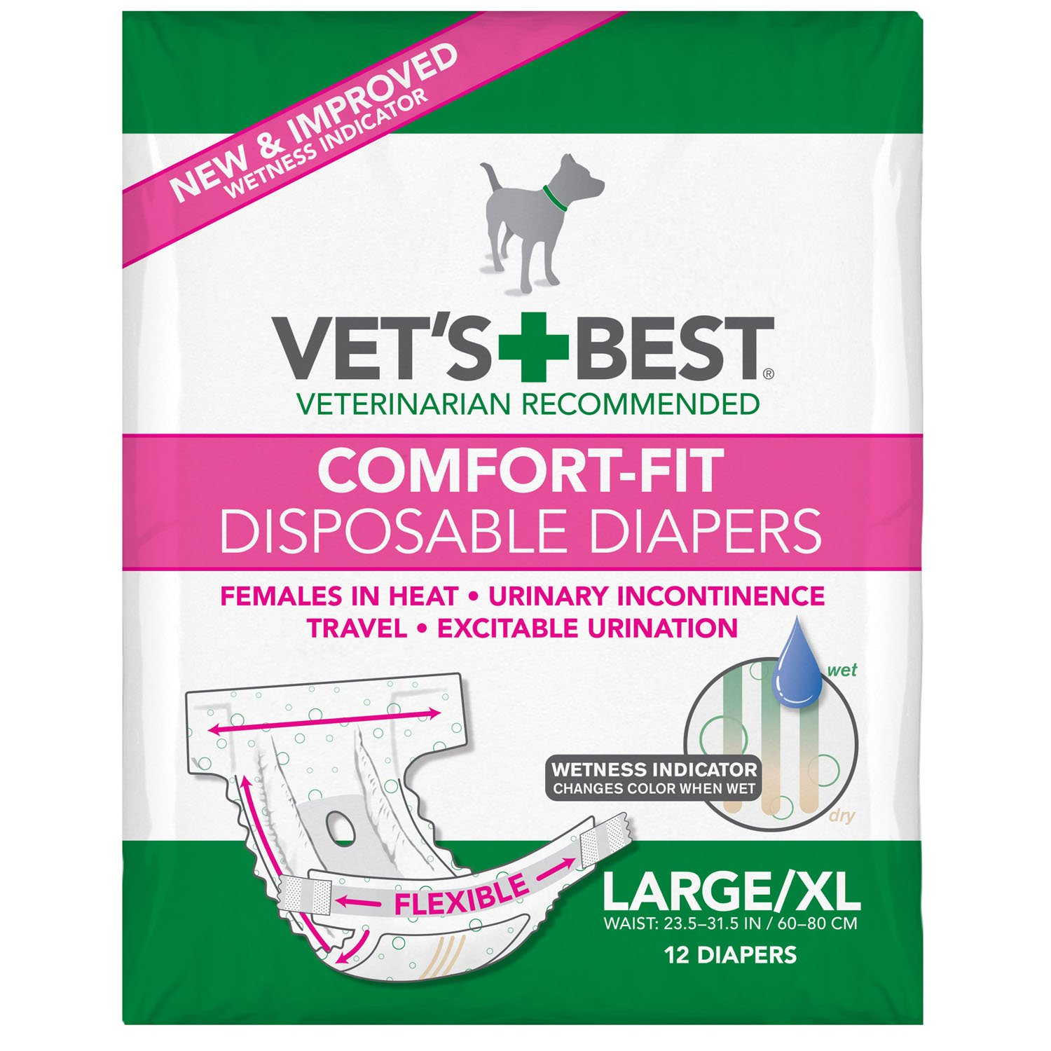 Vet's Best Comfort Fit Disposable Female Diapers, 12 Count, Large/X-Large