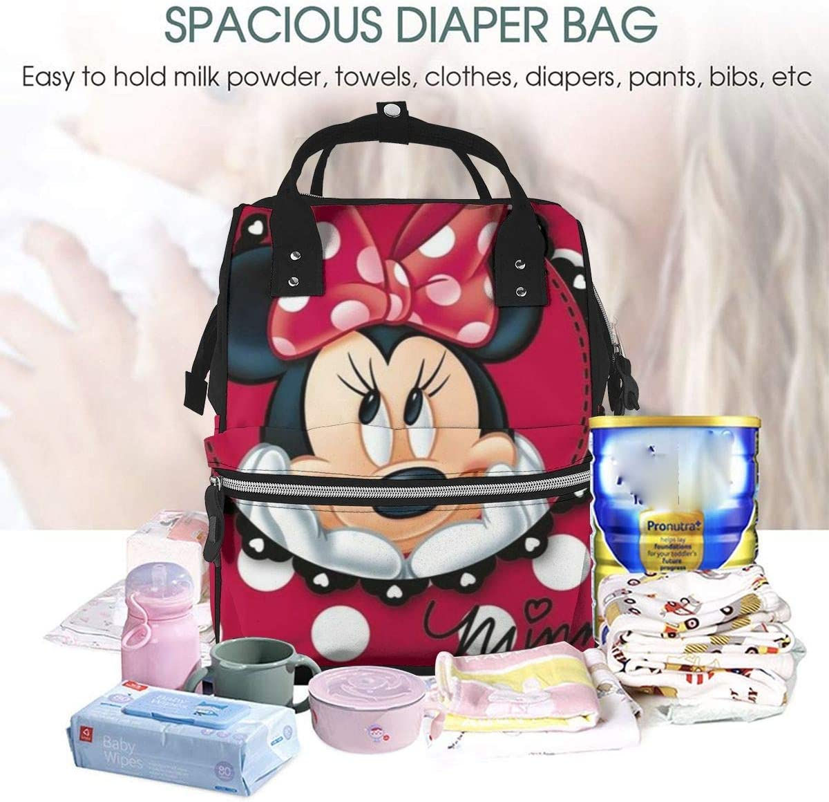 NHJYU Sac /à langer Sac /à dos Minnie Dots Multifunction Waterproof Travel Sac /à dos Maternity Baby Nappy Changing Bags