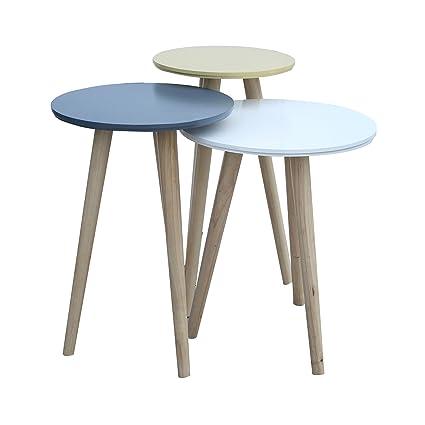Mobili Rebecca® Set 3 Tavolini Sovrapponibili Tavolino Da Salotto Marrone  Bianco Blu Petrolio Giallo Legno