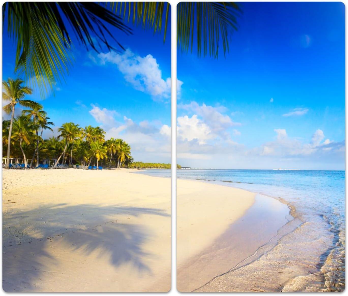 einteilig universal 52x60 cm Herd Ceranfeld Abdeckung Noppen Tropical Beach geh/ärtetes Glas DekoGlas Herdabdeckplatte inkl