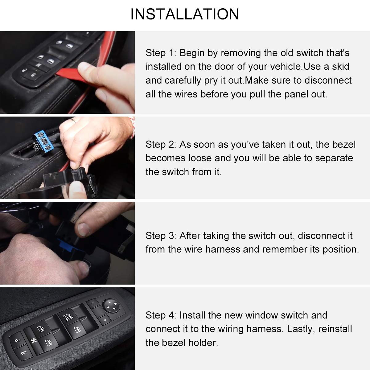 Replacement Parts SYKRSS Master Power Window Switch Front Left ...
