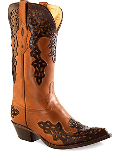 Women's Overlay Leather Western Boot Pointed Toe - 18055
