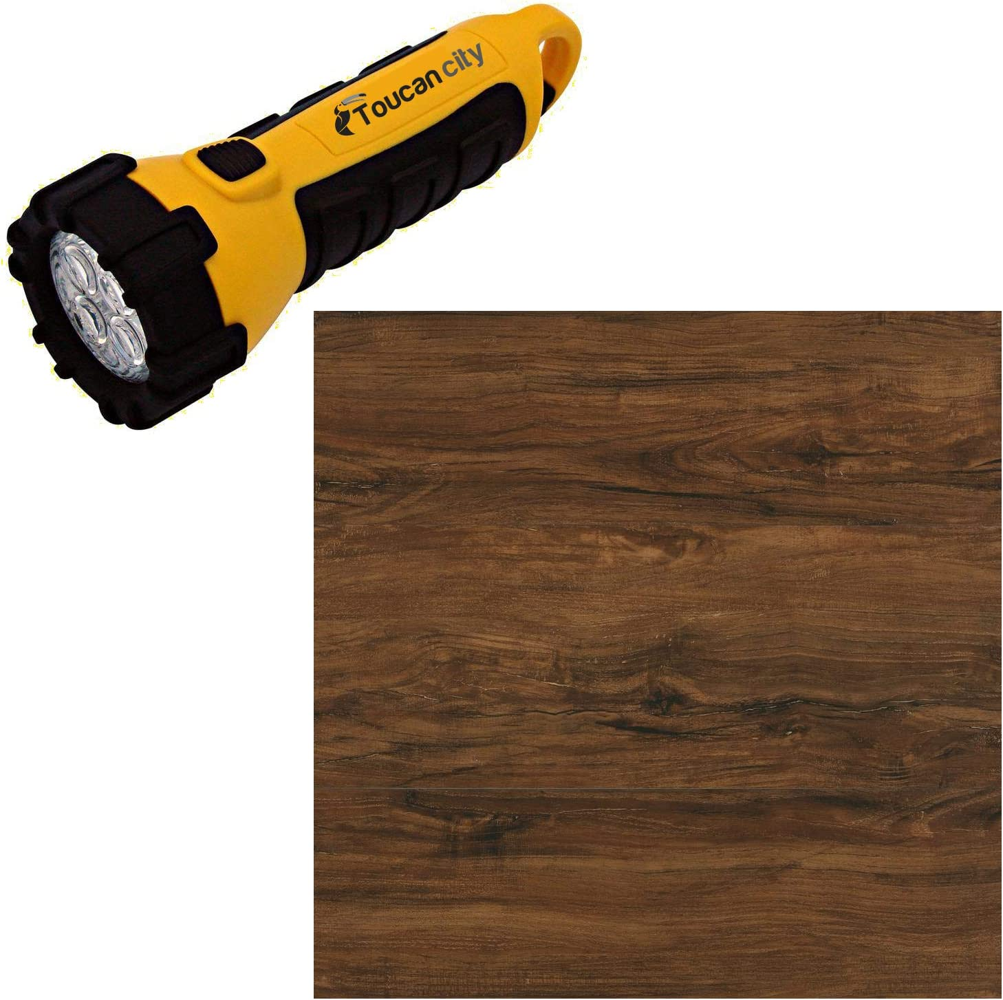 Toucan City LED Flashlight and Home Decorators Collection Cider Oak 7.5 in. L x 47.6 in. W Luxury Vinyl Plank Flooring (24.74 sq. ft. / case) 417115