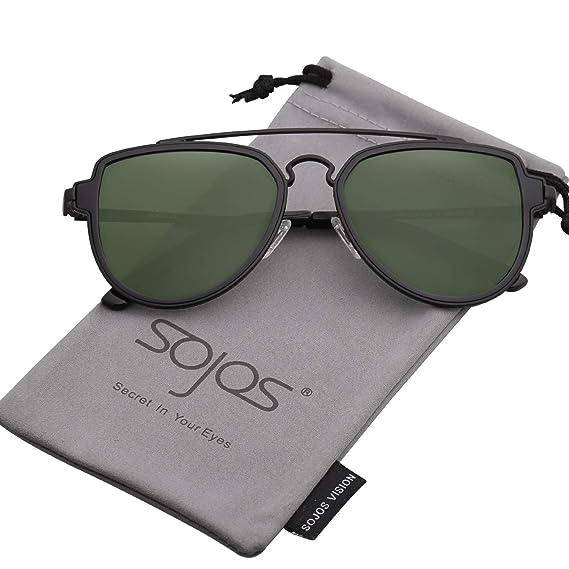e205d6cb59 SOJOS Fashion Polarized Aviator Sunglasses for Men Women Mirrored Lens  SJ1051 with Black Frame G15 Polarized Lens  Amazon.in  Clothing    Accessories