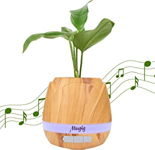 Mugig Music Flowerpot, Music Plant Pot with Wireless Bluetooth Speaker, Multi-color LED Light Smart Touch Musical Flower Pots for Office Home Decor