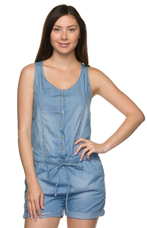 7603df5756da 2LUV Women s Denim Drawstring Romper Denim Light M (90041)  Amazon.co.uk   Clothing