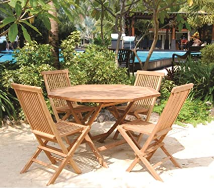 Amazon.com: Bamboo Teak Patio Set Octagonal Table 5 Piece ...