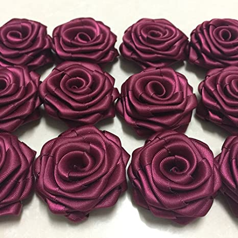 """3 pieces Mauve 1.5/"""" satin rolled rosette DIY baby headband /& bows"""