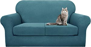 YEMYHOM Latest Checkered 3 Pieces Couch Covers for 2 Cushion Couch High Stretch Thickened Love Seat Sofa Cover for Dogs Pets Anti Slip Elastic Loveseat Slipcover Protector (Loveseat, Teal)