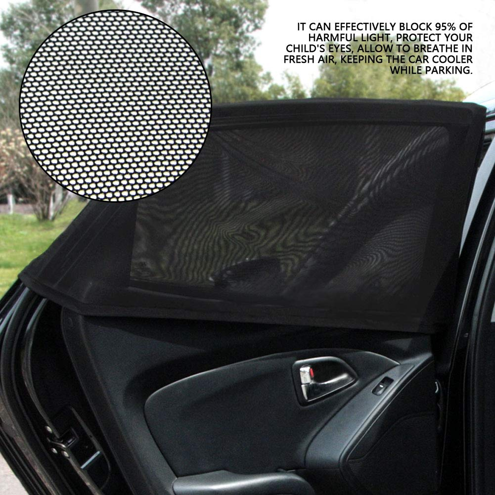 Fydun Universal Car Side Window 2Pcs Car Side Window Screen Sun Shade Mesh Net Curtain Windshield Cover