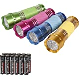 Everbrite 4-Pack Mini LED Aluminum Flashlight Party Favors Colors Assorted with Handle Glow in Dark