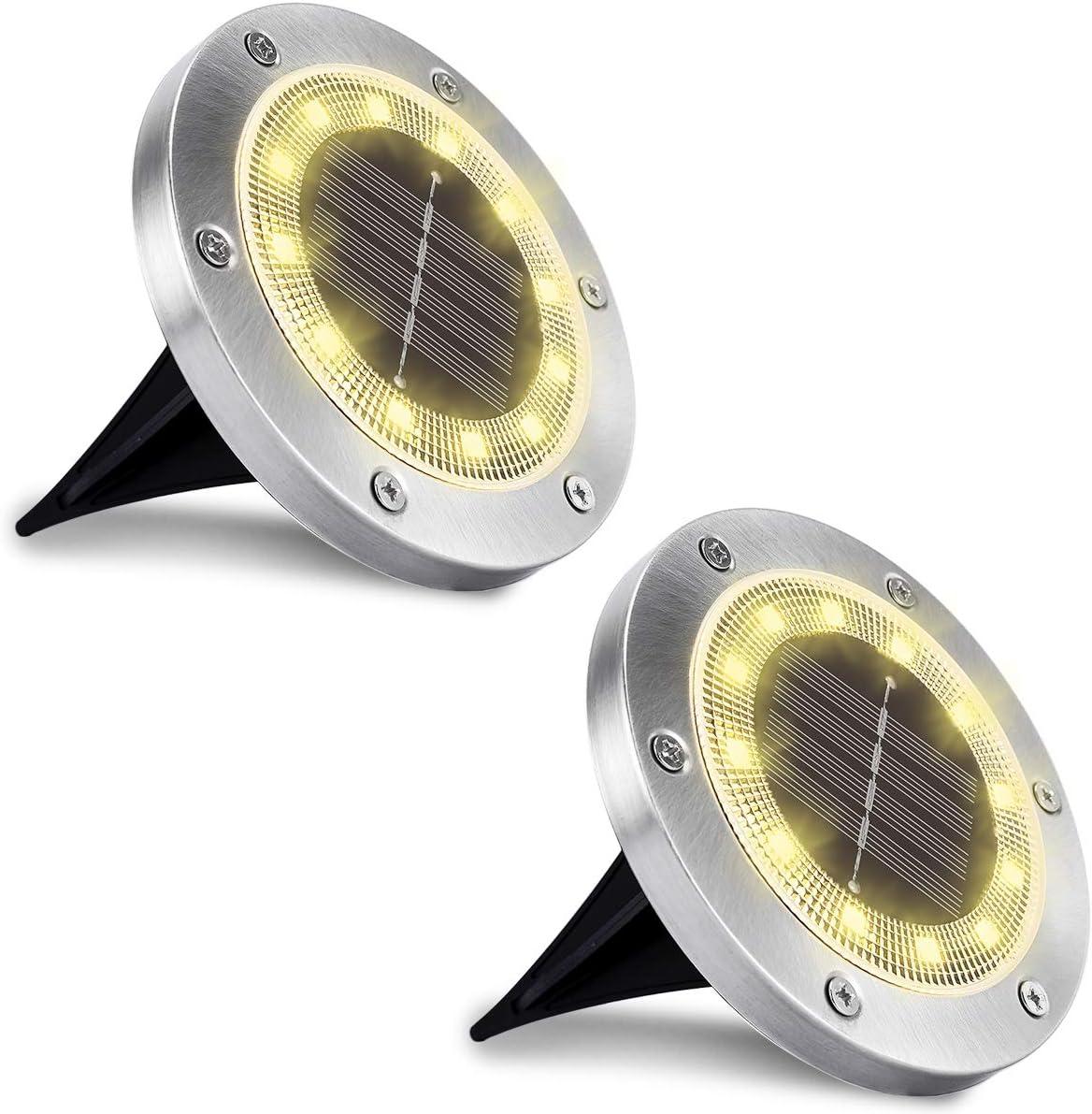 c/ésped Blanco c/álido, 2 paquetes WOWDSGN 12 LED IP65 Luz de suelo solar a prueba de agua al aire libre para jard/ín estanque y decoraci/ón de cubierta de camino. patio