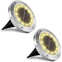 WOWDSGN 12 LED IP65 Luz de suelo solar a prueba de agua al aire libre para jardín, patio, césped, estanque y decoración…