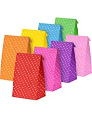 Tatuo 24 Pieces Party Bags Gift Dot Paper Bags Grocery Bags Craft Paper Bags Lunch Flat Bottom Paper Bags