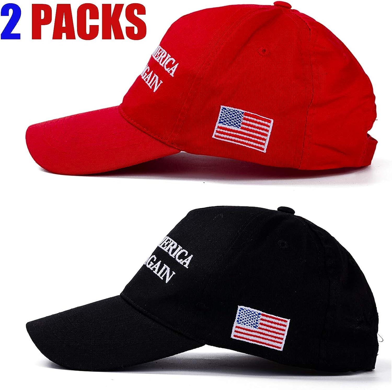 Make America Great Again Hat [2 Packs], Keep America Great Hat, Donald Trump 2020 USA MAGA Cap Adjustable Baseball Hat: Clothing