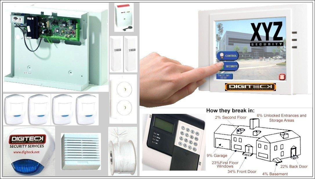 ah9-complete pantalla táctil GSM Autodial con cable sistema de alarma antirrobo con Sensor de movimiento/Sensor de vibración/extensión altavoz y luz ...