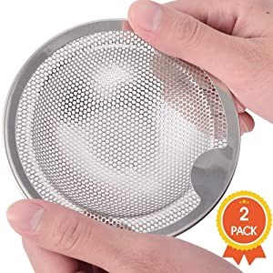 Qtimal Kitchen Sink Strainer Basket Catcher with Upgrade Handle, Anti-Clogging Stainless Steel Drain Filter Strainer for Most 3-1/2 Inch Kitchen Drains, Rust Free and Dishwasher Safe (2-Pack)
