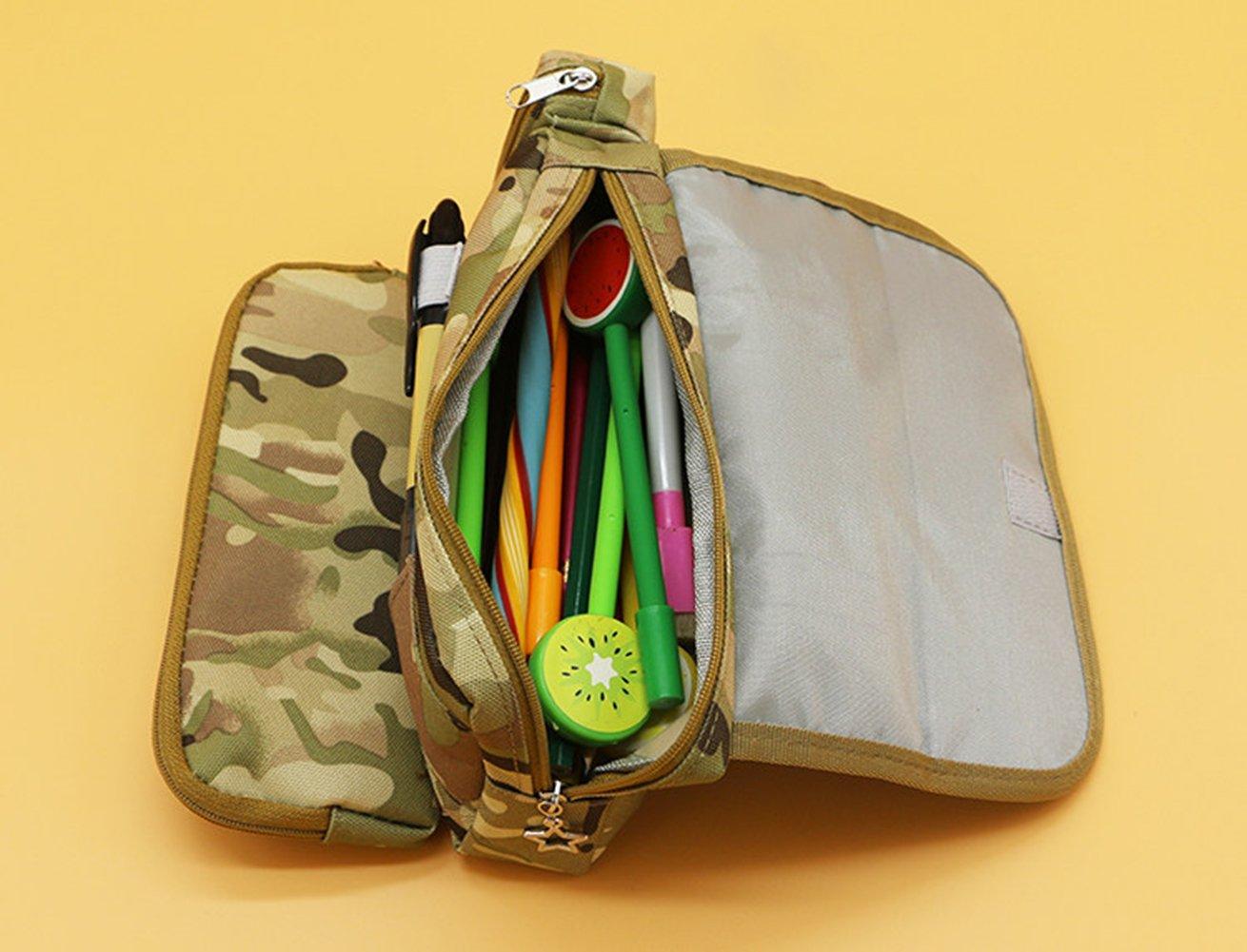 Moolecole Grand Capacit/é Fermeture /éclair Crayon Bo/îte Papeterie Provisions Pour Gar/çons Filles /Étudiant Gros Capacit/é Cr/éatif Camouflage Crayon Cas