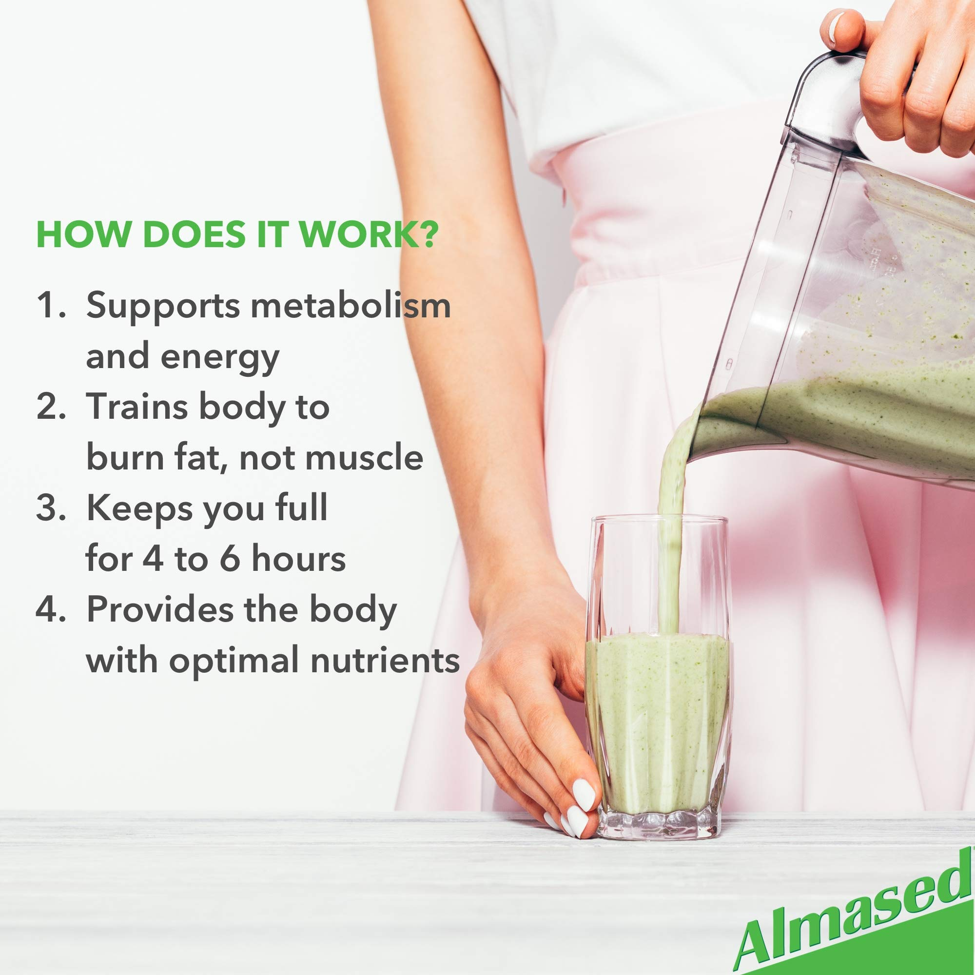 Almased Meal Replacement Shake (6 Pack) with Bonus Bamboo Spoon - 17.6 oz Powder - High Protein Weight Loss Drink, Fat Metabolism Booster - Vegetarian, Gluten Free - 60 Total Servings by Almased (Image #4)