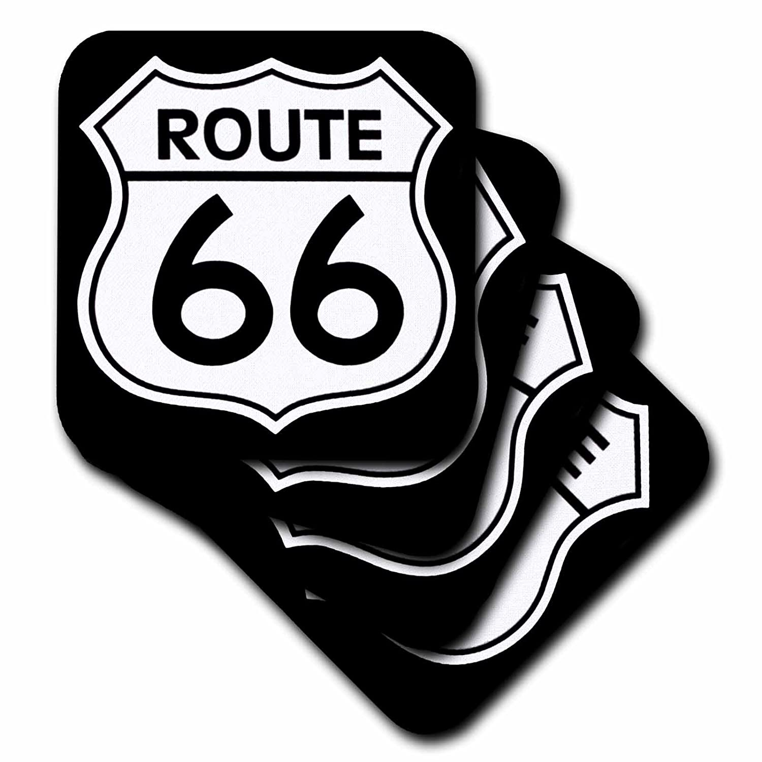 Set of 4 3dRose cst/_110012/_3 Route 66 Black and White-Ceramic Tile Coasters